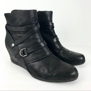 BareTraps Tainya Hidden Heel Wedge Booties Black